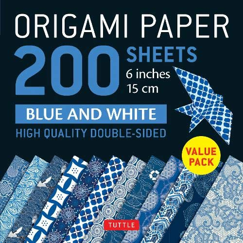 Origami Paper 200 Sheets Blue and White: 6 inches 15 Cm: High-Quality Double Sided: High-Quality Double Sided Origami Sheets Printed with 12 Different Designs (Instructions for 6 Projects Included)