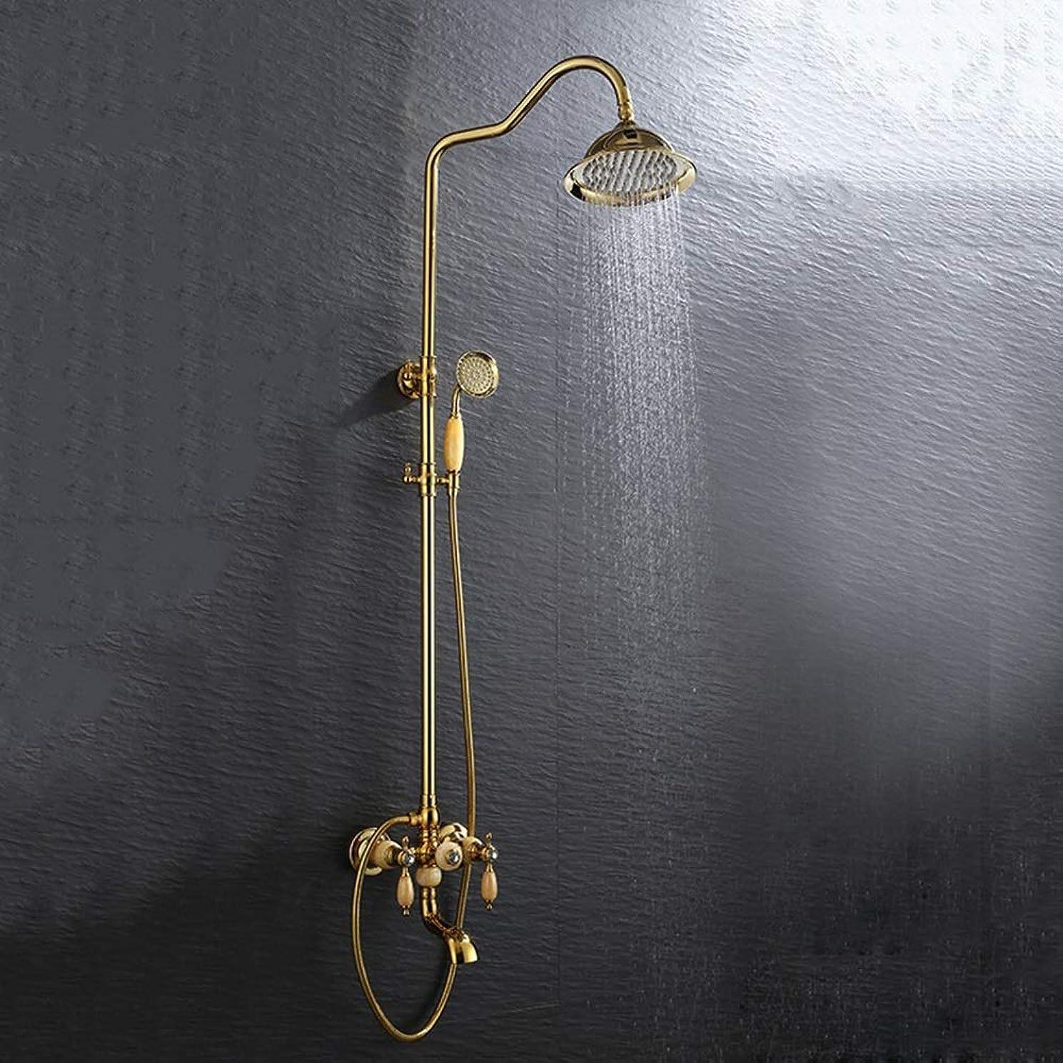 軍団交差点降伏ホット&コールドシャワーシステム3種類の屋台ヨーロッパの金玉シャワーセット銅シャワーの蛇口サーモスタットトップスプレーリフティング家庭用ハンドヘルド シンプルで実用的