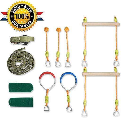 HappyPie Ninja Slackline Monkey Bar Kit Obstacles à Suspendre en Plein air