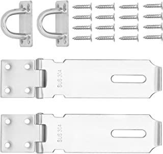 Padlock Hasp, KINJOEK 2 PCS Stainless Steel Security Door Clasp Hasp Lock Latch, 2mm Extra Thick Door Gate Bolt Lock with 16 Mounting Screws (5 Inch)