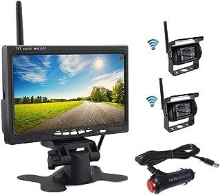 OiLiehu Wireless Rückfahrkamera Kit, 7 Zoll HD TFT LCD Monitor mit Antenne, 2 x Wireless Rückfahrkamera, IP67, Nachtversion, 12 24 V, geeignet für Busse, SUV, LKW, Anhänger