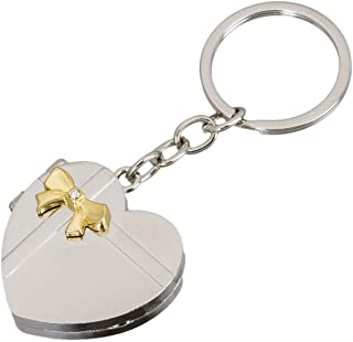 occasion Heart Shape Silver Double Photo Frame Metallic Keyring Key Chain