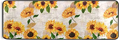 Non Skid Runner Rug Modern Polyester Machine Washable Area Rugs Home Decor for Kitchen, Bath, Living Room 72x24in Sunflower Letter