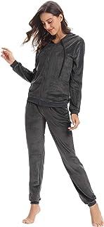 Aibrou Survêtement Femme 2 Pièce Sweat Zippé à Capuche + Pantalon Jogging Solide Ensembles Sportswear Tenue d'Intérieur po...