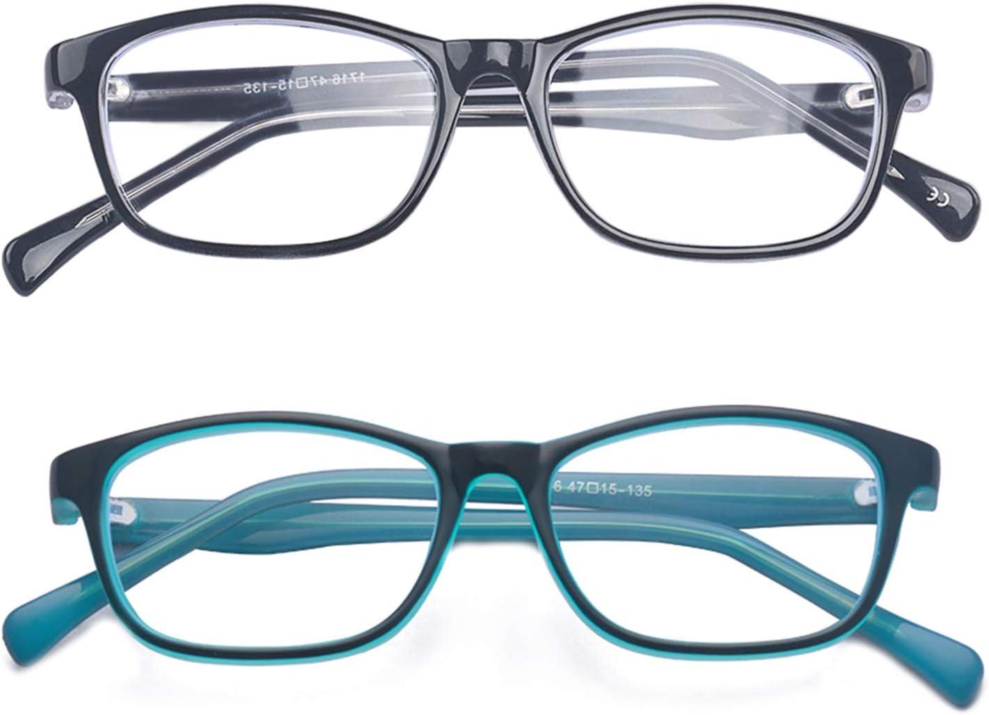 ALWAYSUV 2 Pack Boys Girls Blue Light Blocking Glasses Square Eyeglasses Anti Blue Ray Computer Game Glasses for Kids (Blue+Black)