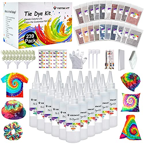 tye dye shirt kits Large Tie Dye Kit for Kids and Adults - 239 Pack Permanent Tie Dye Kits for Clothing Craft Fabric Textile Party Group Handmade Project (Dye up to 60 Medium Adults T-Shirts!)