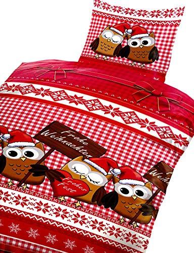 Buymax Fleece Bettwäsche Flausch 2 teilig Nicki Teddy Reißverschluss, Standardgröße 135x200 cm, Eule Weihnachten