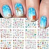 Summer Ocean Nail Stickers for Nail Art Water Transfer Decals Summer Nail Art Supplies Ocean Design Sticker for Acrylic Nails Mixed Shapes Nail Ocean Shell Starfish Sea Animals 12 Sheets