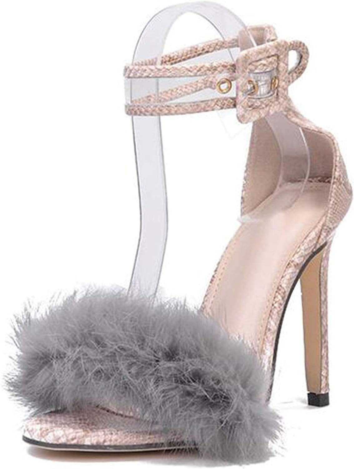 The small cat Women Sandals High Heels Footwear Fur Ankle Strap Gladiator Sandals Female Wedding Sexy shoes