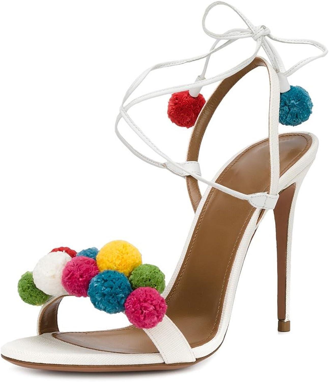 YBeauty Women's Lace Up Stiletto Heels Sandals High Heel Ankle Strap Slingback Sandals Big Size shoes