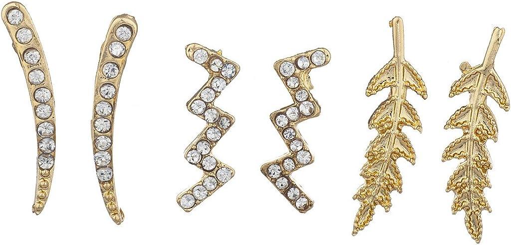 Lux Accessories goldtone Pave Rhinestone Ear Creeper Multi Earring Set (3pc)