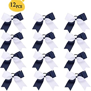 Oaoleer 12pcs 6inch Large Cheer Hair Bows for Cheerleading Teen Girls High School College Sports (Navy Blue/White)