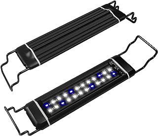 WOTERZI LED Aquarium Light Fish Tank Light Super Bright White & Blue LED with Extendable Brackets