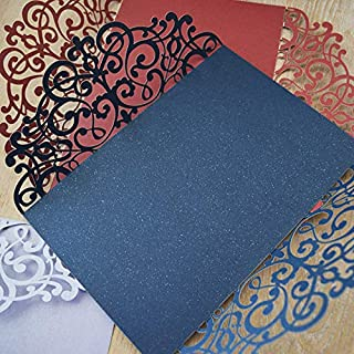 25PCS Laser Cut Invitations, 4.9''x 7'' Wedding Invitations + Blank Paper + Envelopes for Wedding Bridal Shower Anniversary Birthday Party (Navy Blue)