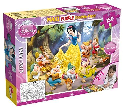 Lisciani Puzzle Maxi Floor para niños de 150 piezas 2 en 1, Doble Cara con reverso para colorear - Disney Blancanieves 46751