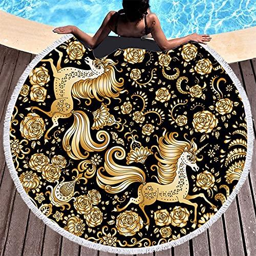 Mandala Estampado De Patrones Geométricos Toalla De Playa Redonda Toalla De Baño De Microfibra Alfombra De Playa Absorbente Y De Secado Rápido A Prueba De Arena 150 * 150cm