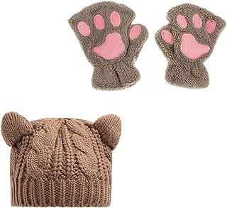 Zgllywr Women's Cat Ear Crochet Braided Knit Caps Gloves