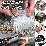 Cinta adhesiva de butilo, Super Strong Waterproof Butyl Tape para Roof Rubber Aluminium Foil Coating Flashing Repair Tape, para reparación de grietas en la superficie de la construcción. (5cmX5mX1mm)