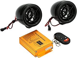 sourcing map 2Pcs Moto Altavoces de Sistema Audio Kit de Alarma Antirrobo Reproductor Mp3 Radio FM
