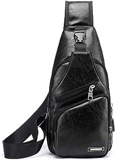 COAFIT Men's Chest Bag Fashion Casual Adjustable Sling Backpack Sling Bag with USB Port