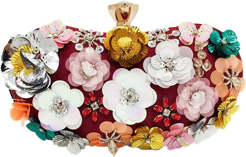 Sturdy Fashian Dinner Handbag Pillow Flower Beaded Handbag Clutch Handbag Chain Handbag Large Capacity (color   Wine red)