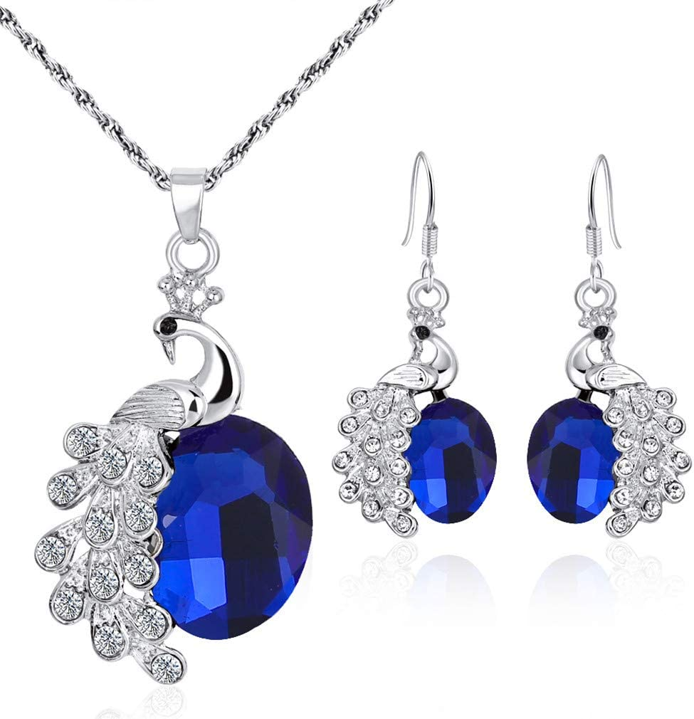 Guoshang Fashion Peacock Rhinestone Pendant Necklace Earring Set Colored Faux Crystal Jewelry Gift for Women Girls,Blue