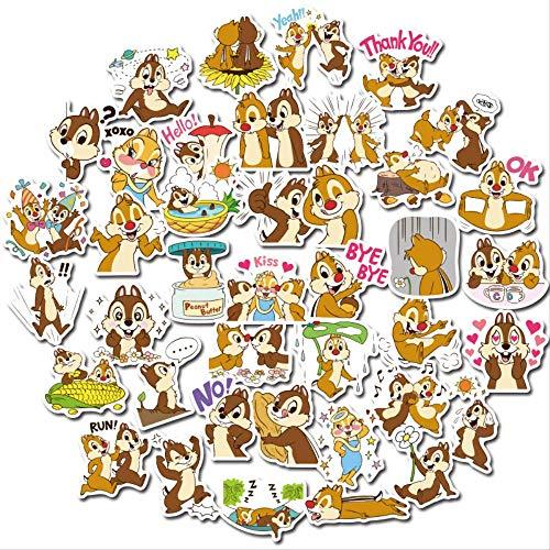WOCAO Dibujos Animados Disney Chip Juguete clásico para niños Taza de Agua móvil de Dibujos Animados Pegatina de Cuenta de Mano Impermeable 40 Uds
