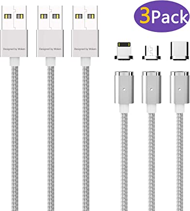WSKEN Mini2 USB QC 3Pack Magnetic Charging Cable Data Sync-Certified Support Type-C