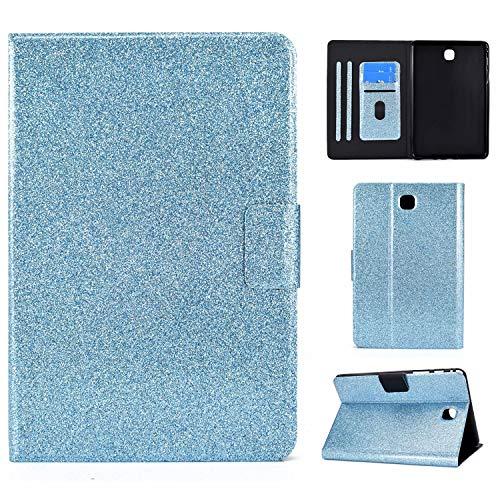 Nadoli PU Cuir Brillant Coque pour Samsung Galaxy Tab A SM-T350 {8 Pouce},Full Body Supporter Pliable Portefeuille Intelligent Magnétique Cover Auto Mise en Veille/Réveil,Bleu