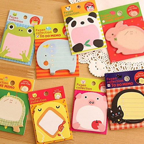 Sticky Notes 8-Packs Self Sticky Notes in Different Shapes, Creative Self-Stick Notes Colorful Super Sticky Notes, Memo Notes for Students, Home, Office -Easy Post and Use (Animal)