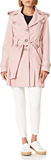 Via Spiga Women's Single-Breasted Belted Trench Coat with Hood, Peony, Medium