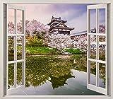 Pegatinas 3D Vinilo Ventana Varias Medidas 100x90cm | Adhesivo Incluido | Decoración Habitación | Japón, Nara, Edificio tipico al Borde de un Lago | Multicolor | Diseño Elegante