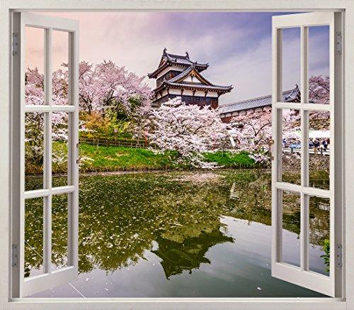 Pegatinas 3D Vinilo ventana Varias Medidas 150x130cm | Adhesivo Incluido | Decoracion Habitación |Japón, Nara, Edificio tipico al borde de un Lago | Multicolor | Diseño Elegante |