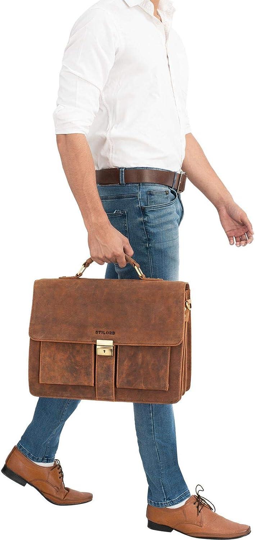 STILORD Eros Ventiquattrore Grande Uomo Pelle Vintage Borsa Lavoro Porta Computer 15,6 Pollici Portadocumenti Insegnante Professore