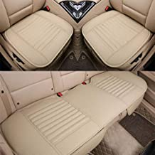 D-Lumina Breathable Beige Leather Car Seat Covers Front and Rear Cushion Seats Bottom Pad Protector Mat Fit 99% Auto (Sedan SUV Trucks), Bamboo Charcoal Filled, Universal for 4 Seasons, 3-Pack