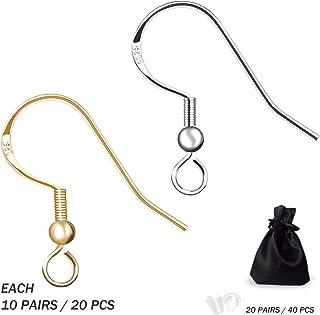JIEHUN 925 Sterling Silver French Wire Earring Hooks Fish Hook Earrings Sterling Silver Earwires Sterling Silver Jewelry Ear Hooks Earring Findings(100)