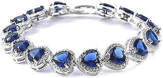 "Sapphire heart inlaid bracelet Cubic Zirconia Platinum Plated CZ Tennis Love Birthday Bracelet for Women 7"" Cttw 22 Jewelr..."