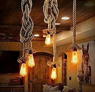 Borang 250cm 2 Head Vintage Thick Hemp Rope Industrial Ceiling Light Pendant E27 Base Lamp Cord(98inch)