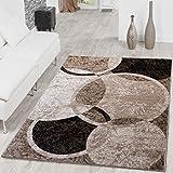 Alfombra moderna diseño de círculos para salón, jaspeado marrón, beige, negro., polipropileno, 190 x 280 cm