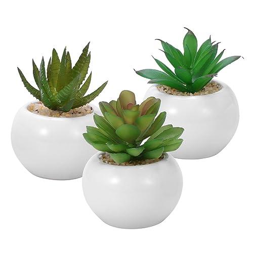 WINOMO 3pcs succulentes artificielles décoratives, Mini pot de fausses plantes avec des pots blancs