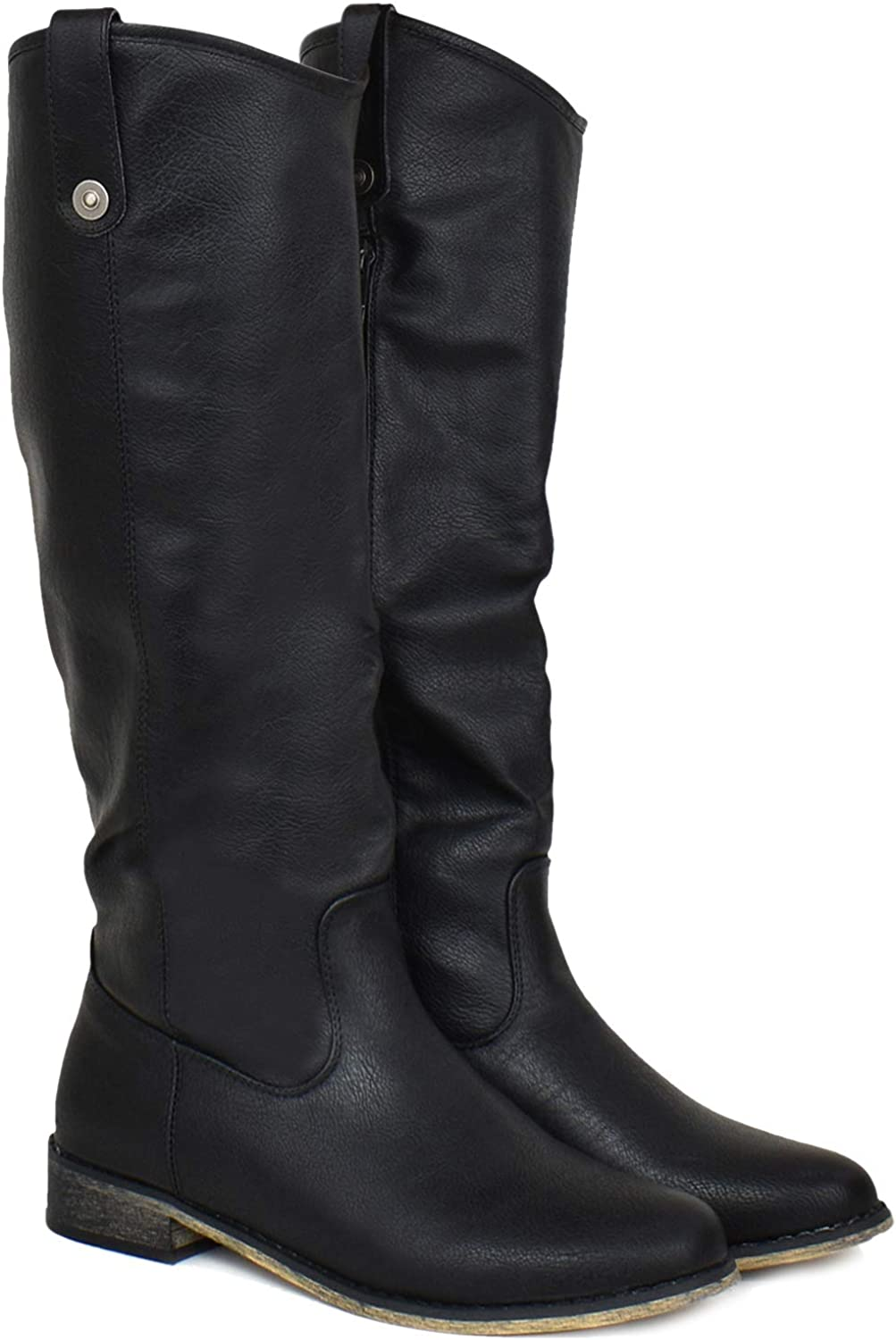 Premier Standard - Strappy Buckle Elastic Panel Knee High Riding Boot - Pull-Tab Sexy Comfortable Walking Boots
