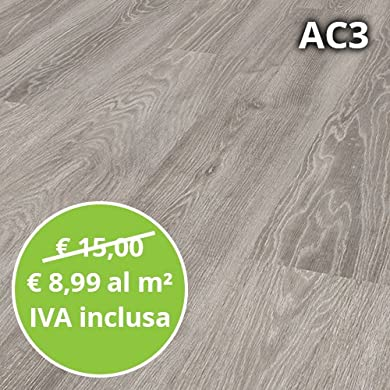 Foto di Pavimento in Laminato Rovere Grigio Confezione Da 2.47 Mq | AC3