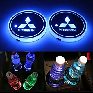 for Mitsubishi LED Cup Holder Lights,FBA Fast Delivery, Car Logo Coaster Lights with Multiple Colors, USB Charging Pads, L...