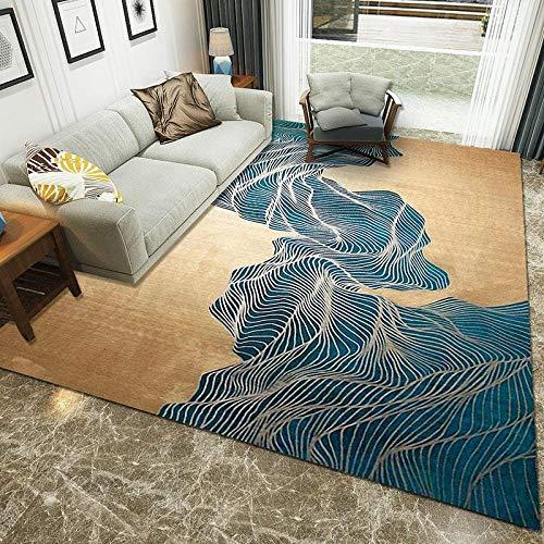 CMwardrobe Alfombra Moderno Salón Dormitorio Comedor diseño Tapete Azul Oro Marrón Tinta...