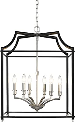 Golden Lighting 8401-6P PW-BLK Leighton Chandelier, Pewter
