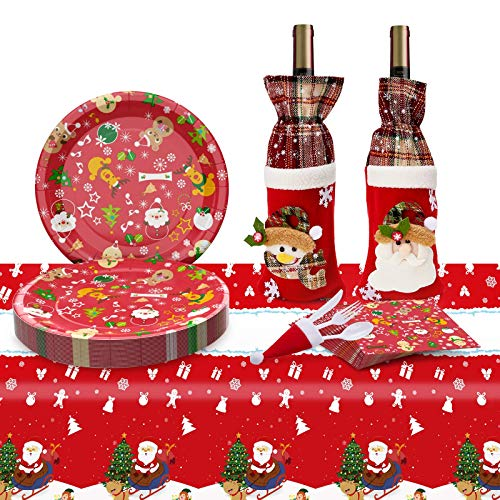 Eaaglo Christmas Decorations - 2020 Christmas Party Supplies Disposable Paper Dinnerware Set Serves 30 Guests, Christmas Party Plates & Dinner Paper Plates (Red and White)
