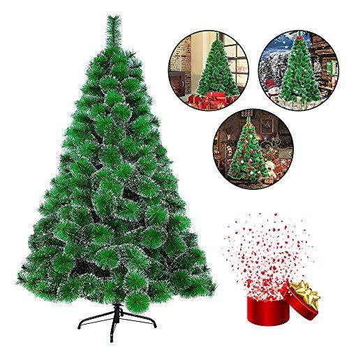 HENGMEI PVC Weihnachtsbaum Tannenbaum Christbaum Grün künstlicher mit Metallständer ca. Spitzen Lena Weihnachtsdeko (Grüne Tannennadeln mit Schnee-Effekt, 150cm)