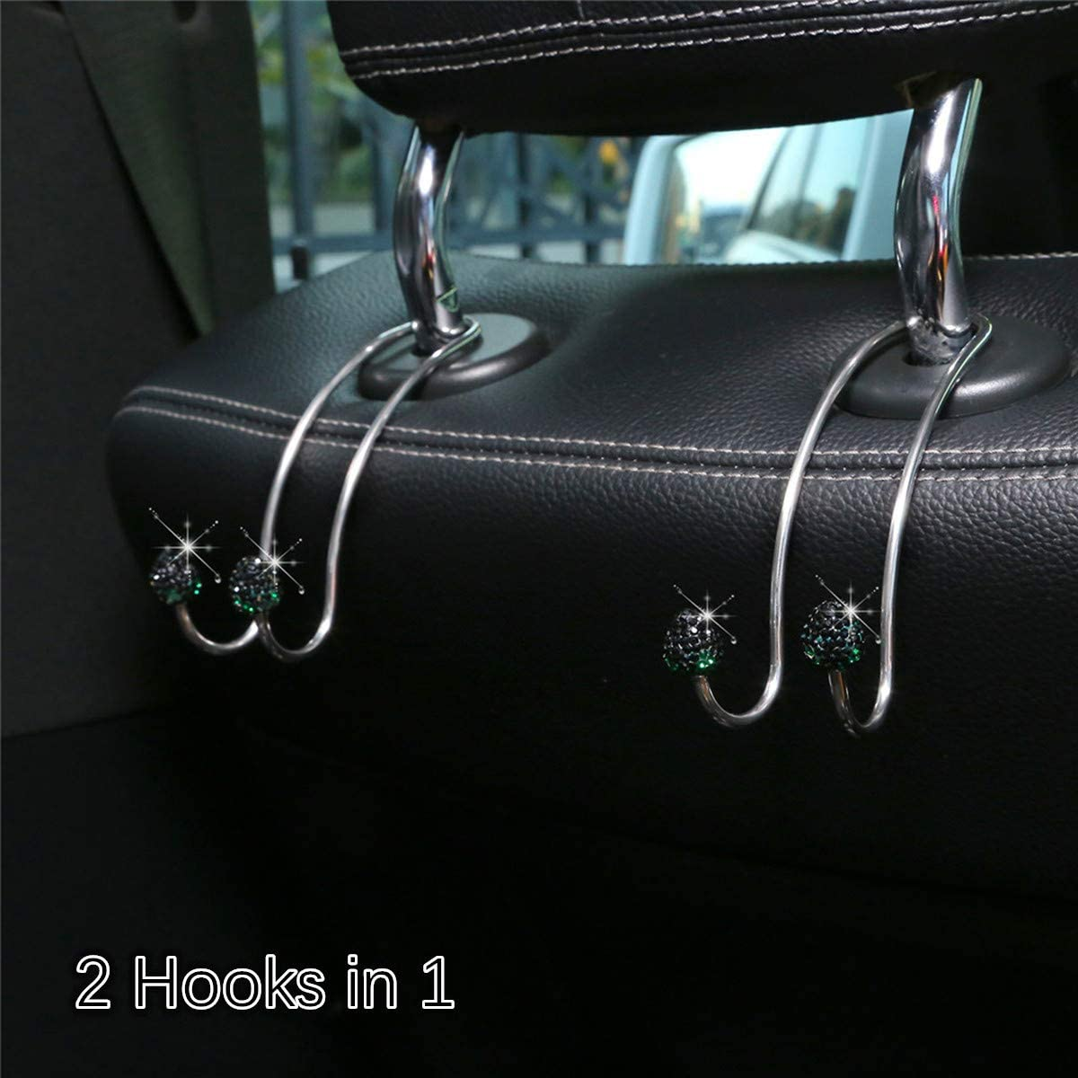 tunfo Auto Hooks Bling Car Hangers Organizer Seat Headrest Hooks Strong and Durable Backseat Hanger Storage Universal for SUV Truck Vehicle 2 Pack Black Strawberry