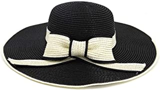 2019 New Straw Hat for Ladies Sun Hat with Bowknot Cap Summer` TuanTuan (Color : Black, Size : 56-58CM)