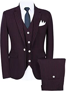 Men's Pinstripe 3 Pieces Suit Slim Fit Stripe Notch Lapel Jacket Tuxedo